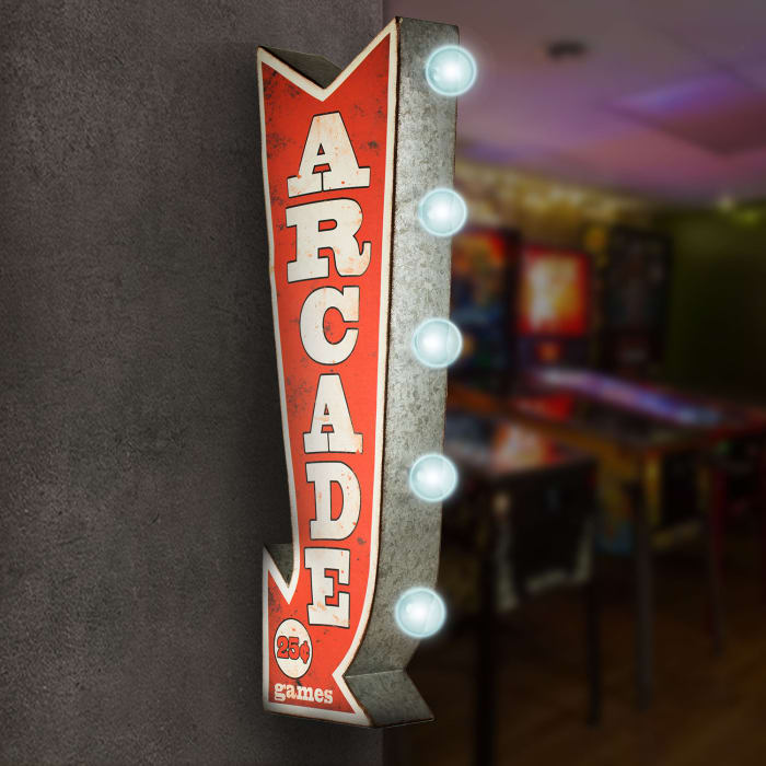 LED Light-Up Arcade Games Metal Arrow Vintage Marquee Sign