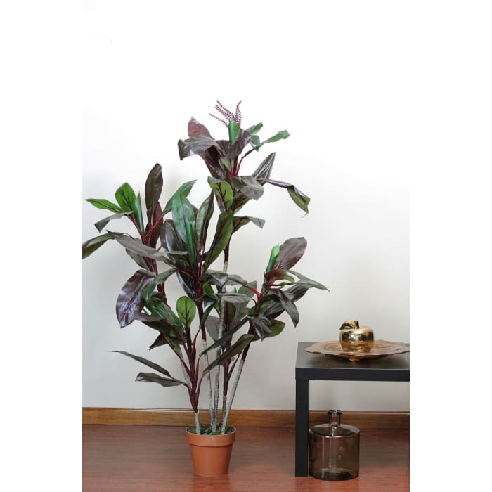 Potted Brown & Green Faux Dracaena Plant