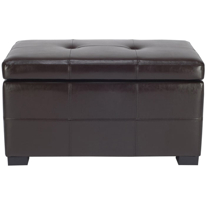 Small Brown Amanda Tufted Storage Bench