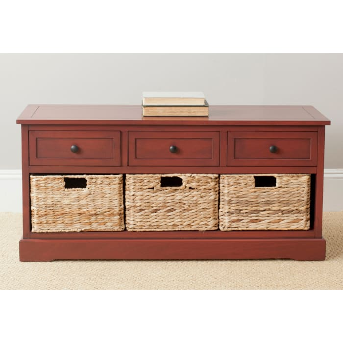Red Wyatt Three Drawer Storage Bench