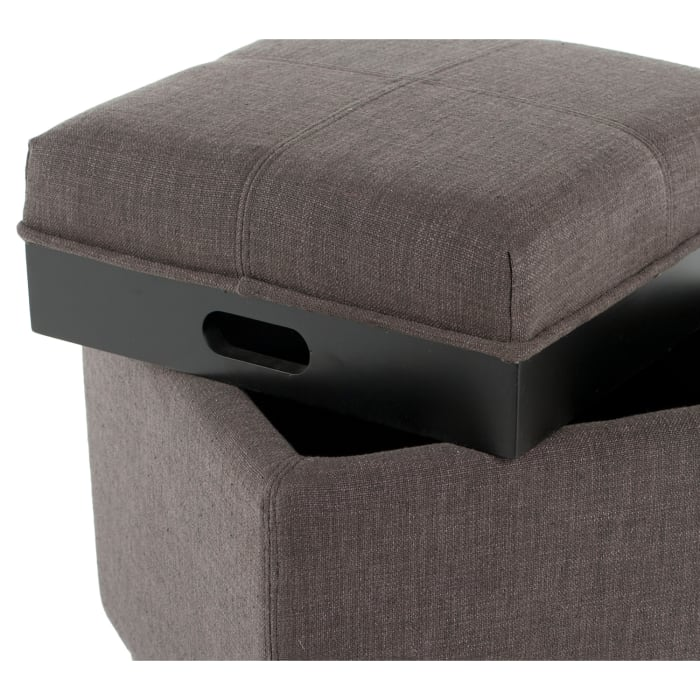 Jillian Gunmetal Single Tray Ottoman