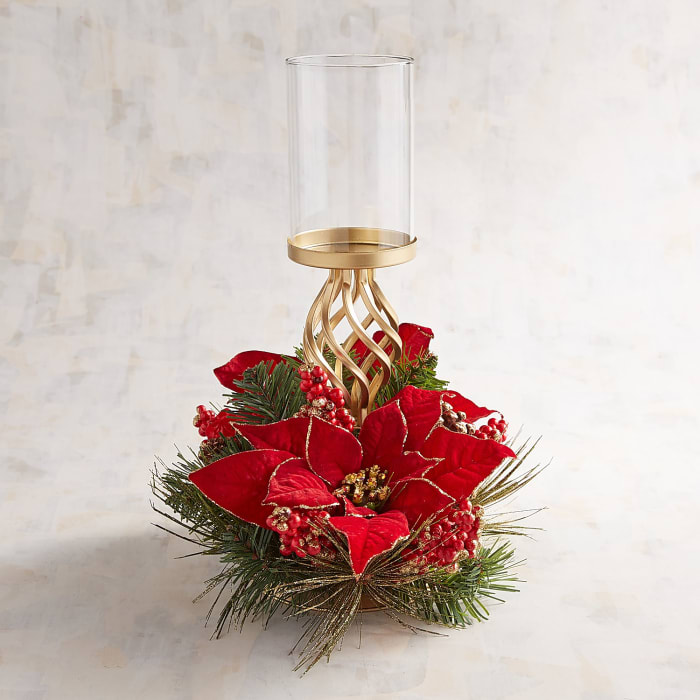 Faux Poinsettia Pillar Stand Centerpiece Candle Holder