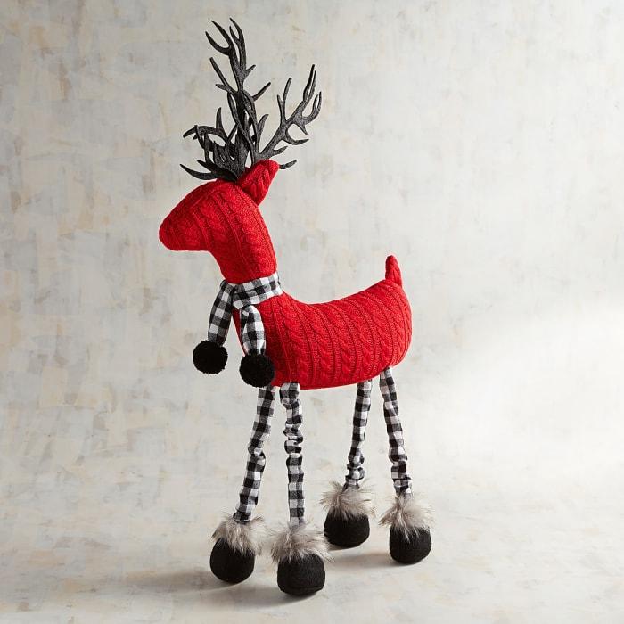 Red Sweater Fabric Deer