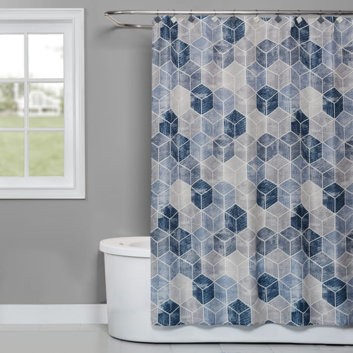 Cubes Blue Fabric Shower Curtain
