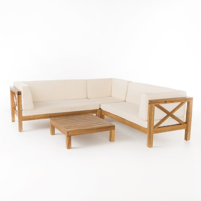 Marquez 4-Piece Wooden Sectional Set with Beige Cushions