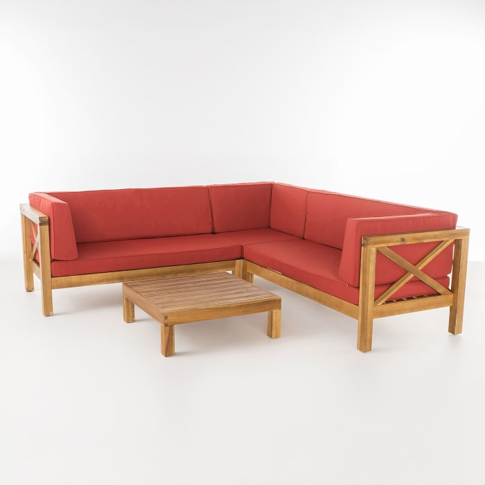 Marquez 4-Piece Wooden Sectional Set with Red Cushions