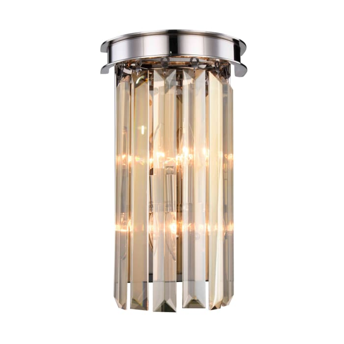 Polished Nickel Wall Sconce Golden Teak Crystals
