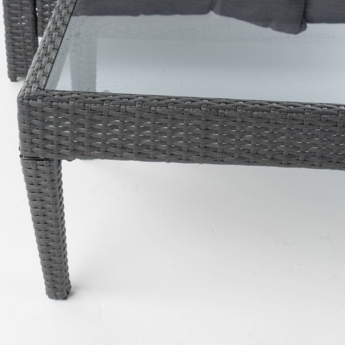 San Marcos Gray Wicker Loveseat & Table with Silver Cushions