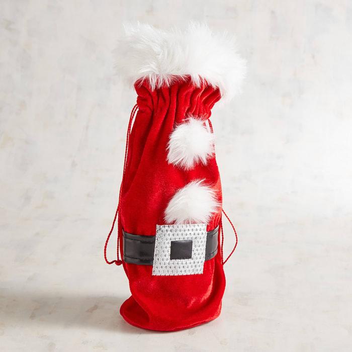 Santa Belt Fabric Wine Bag