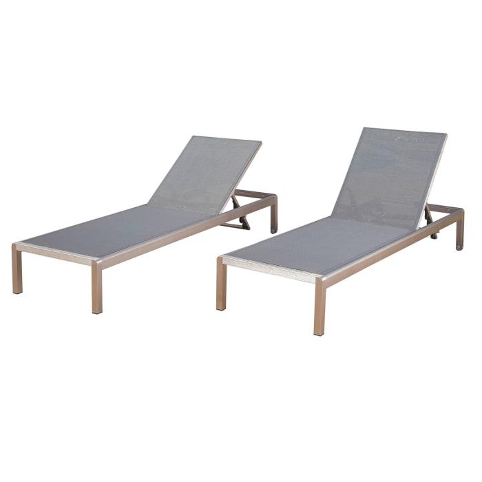 Dark Gray Mesh Chaise Lounge Set of 2