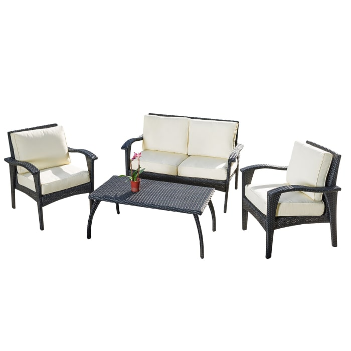 Black 4-Piece Wicker Seating Set with Cushions