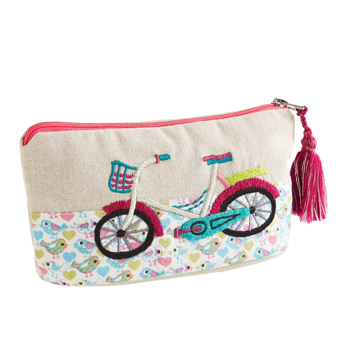 Embroidered Bicycle Floral Zippered Pouch