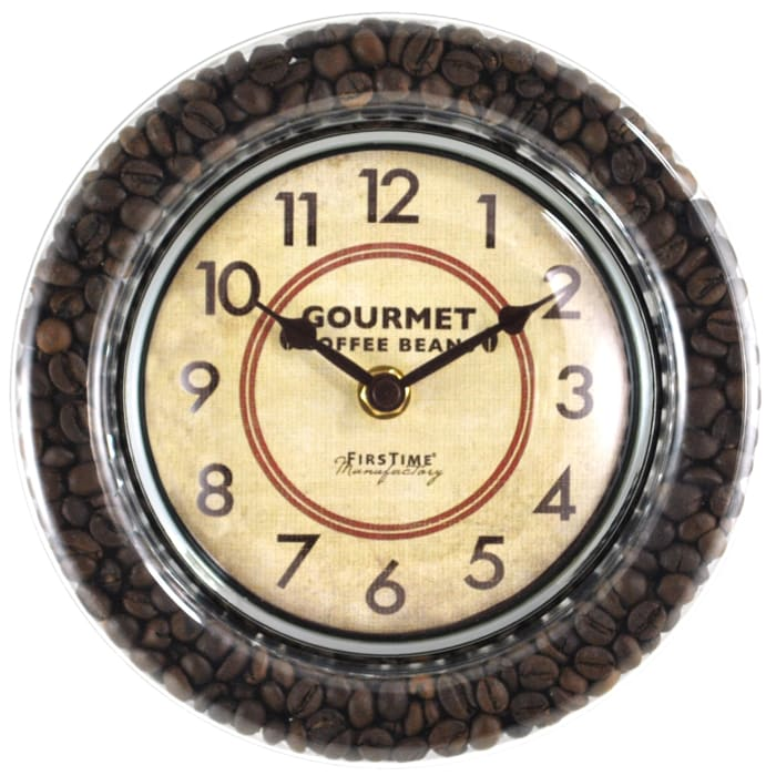 Coffee Bean Brown & Silver Wall Clock