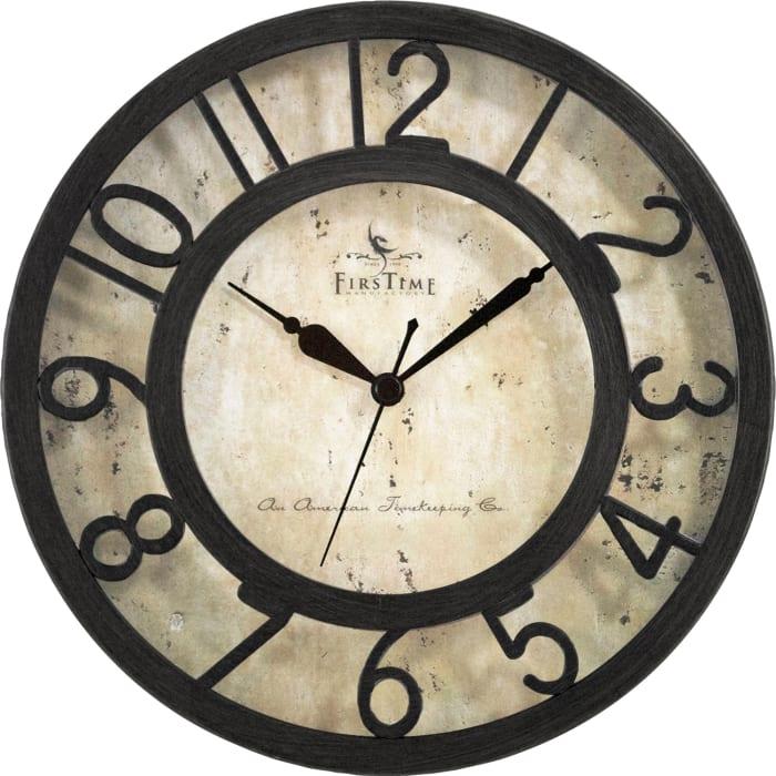 Raised Number Brown Wall Clock