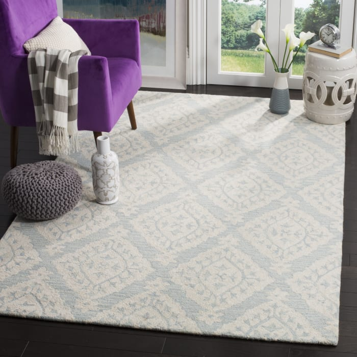 Essence 210 5' X 5' Square Blue Wool Rug