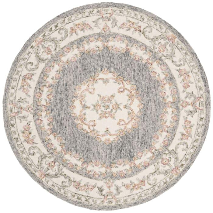 Essence 903 5' X 5' Round Gray Wool Rug