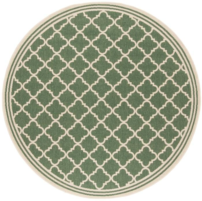 Round Green Polypropylene Rug  7'
