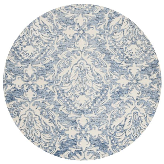 Morgan 107 6' X 6' Round Blue Wool Rug