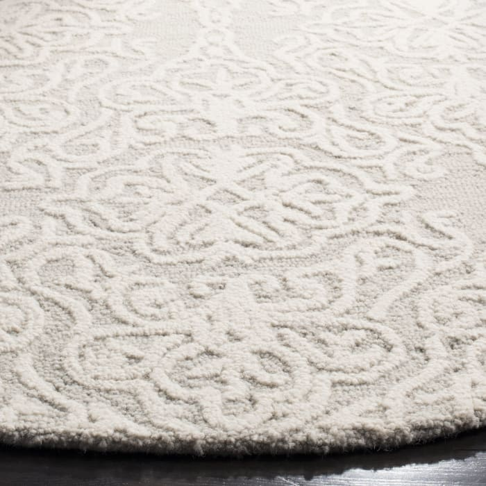 Morgan 112 6' X 6' Round Silver Wool Rug