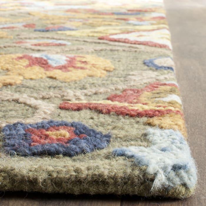 Green Wool Rug 2.5' x 12'