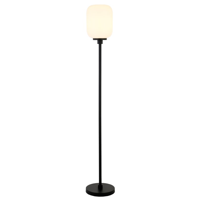 Appletree Floor Lamp in Black with Milk Glass Shade