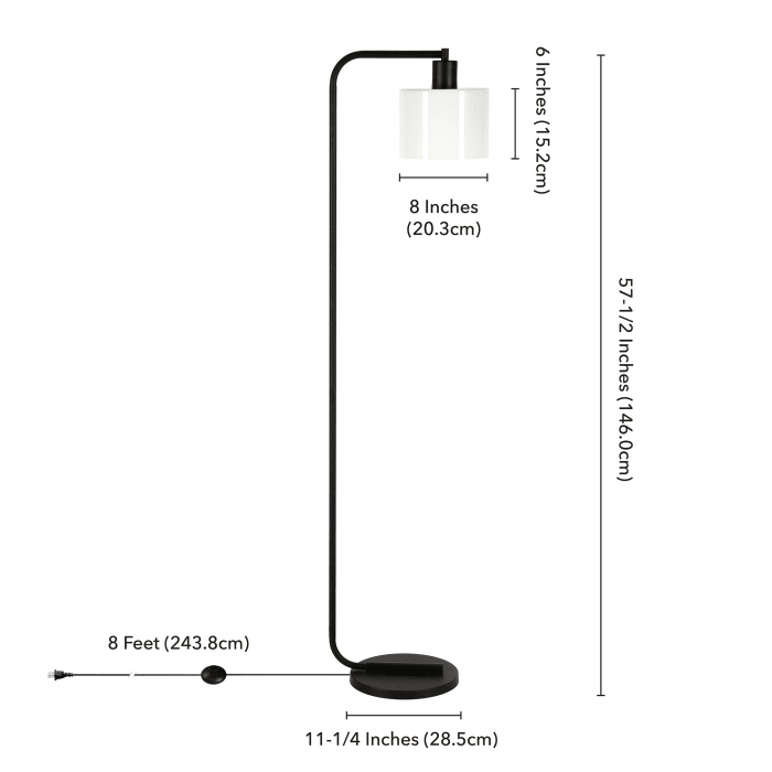 Cadan Floor Lamp with Milk Glass Shade