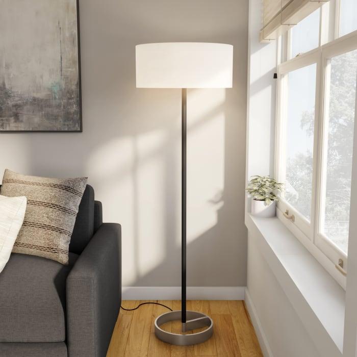 Floor Lamp in Black and Nickel
