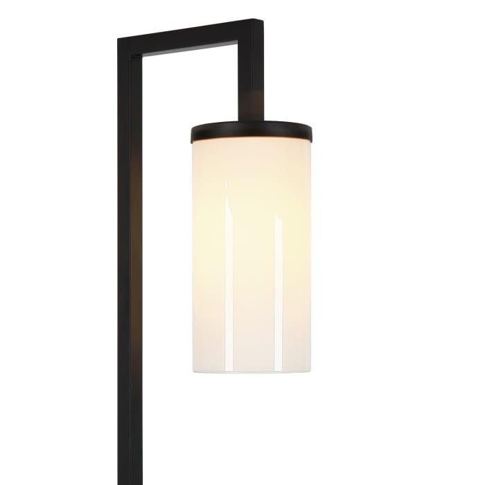 Floor Lamp in Blackened Bronze with Milk Glass