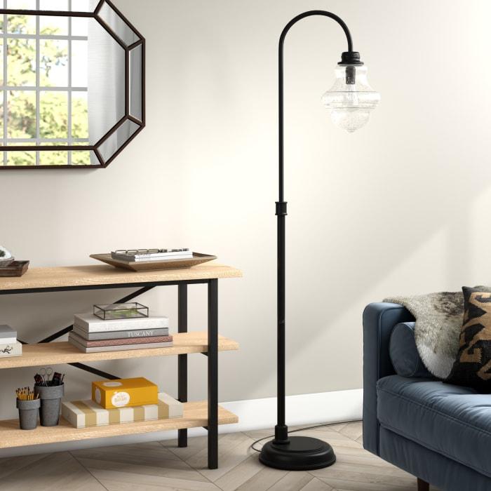 Meir Blackened Bronze Floor Lamp with Seeded Glass