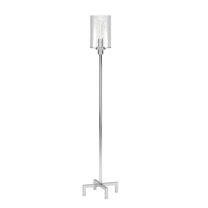 Paavo Floor Lamp in Nickel with Seeded Glass