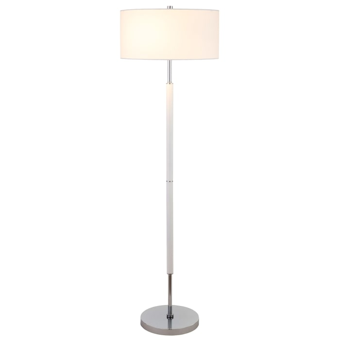Floor Lamp Matte White and Nickel