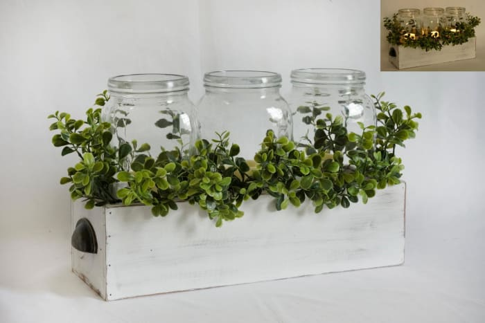 LED Wood Box With Greenery