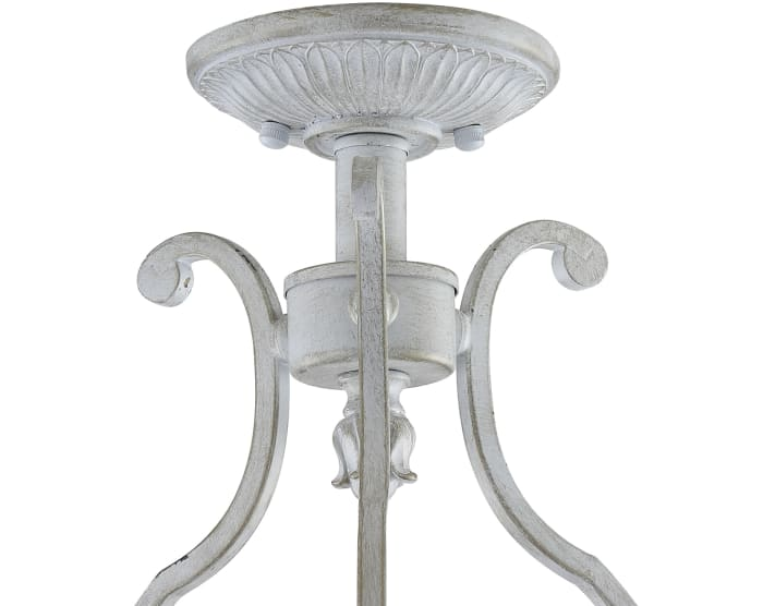 Metal LED Semi-Flush Mount, Antique White