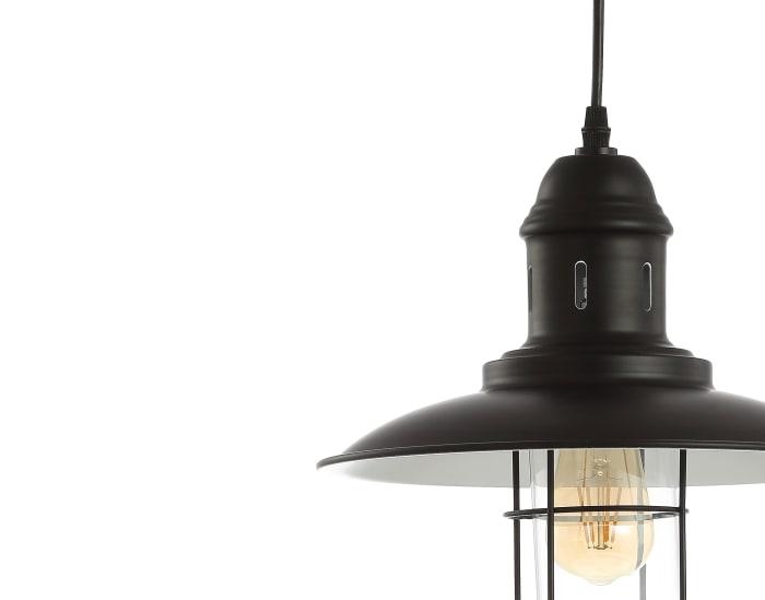 Adjustable Iron/Glass Cage Light LED Pendant, Black