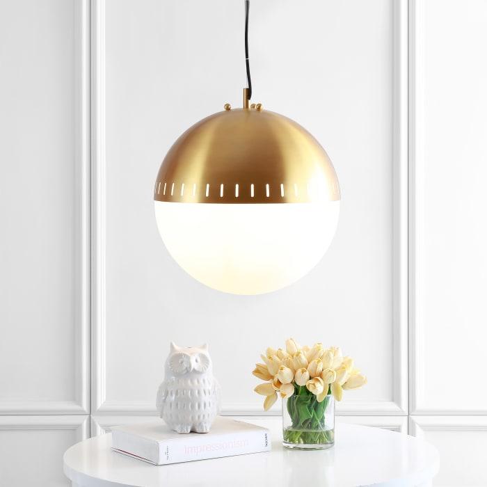 Adjustable Iron/Glass Art Deco Mid-Century Globe LED Pendant, Brass Gold