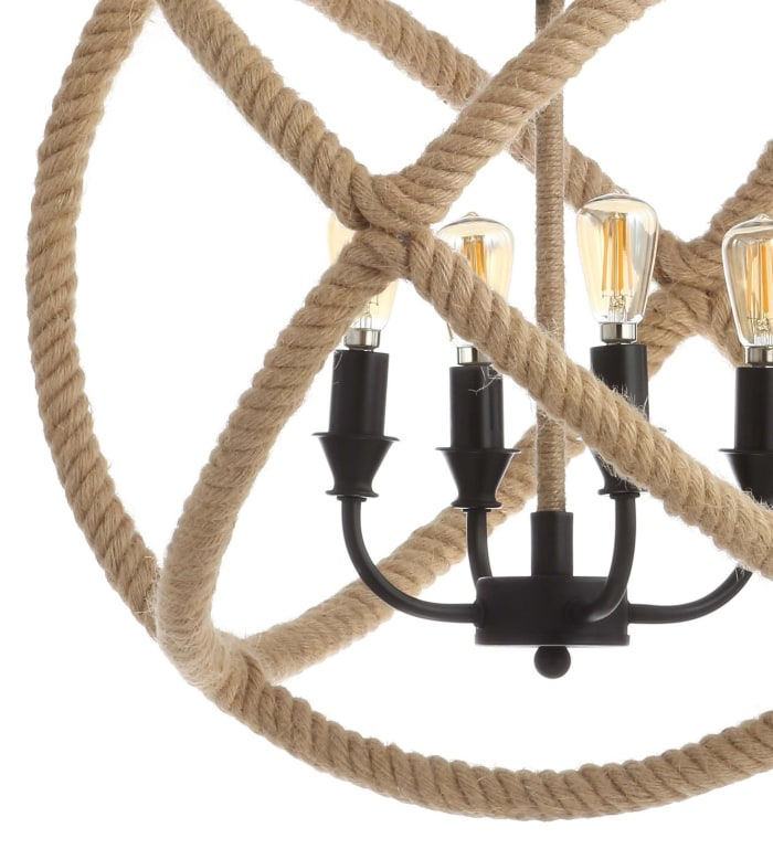 4-Light Adjustable Globe Metal/Rope LED Chandelier, Black/Brown