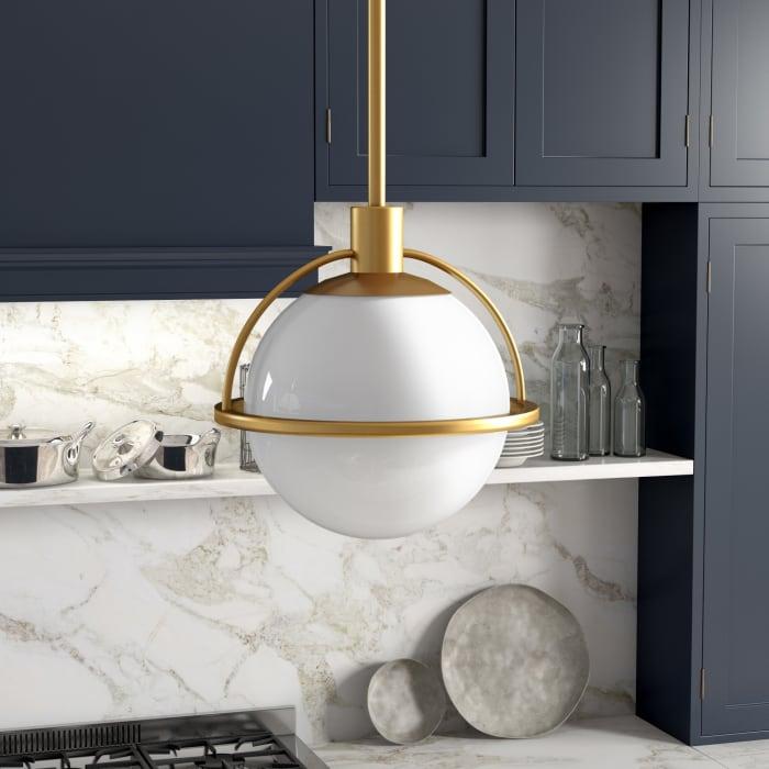 Cierra Pendant in Brass and Milk Glass