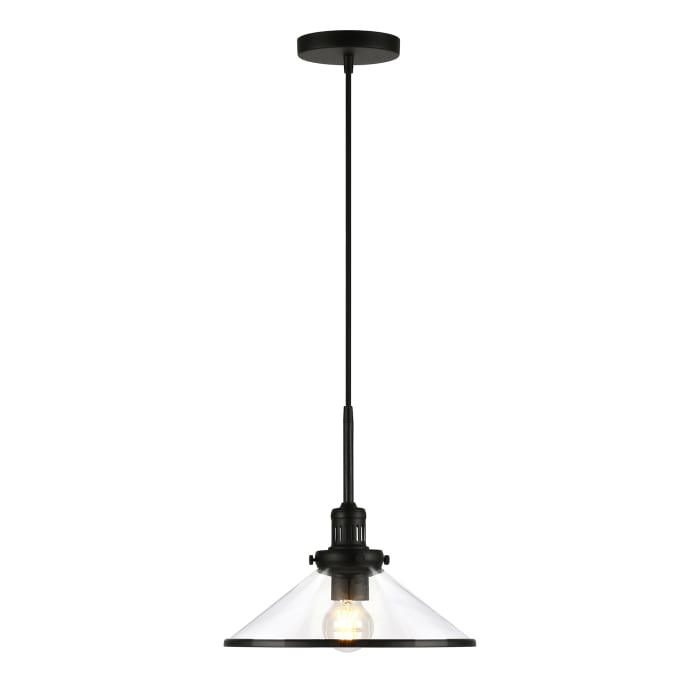 Millo Pendant in Blackened Bronze and Clear Glass