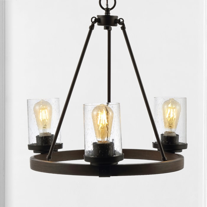 3-Light Iron/Seeded Glass Rustic Farmhouse LED Chandelier, Oil Rubbed Bronze