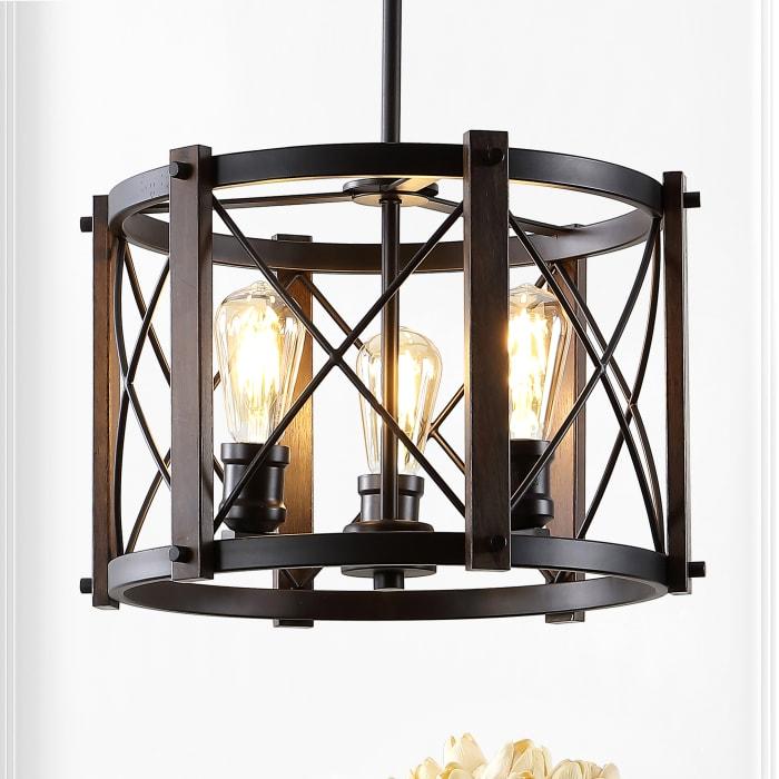 3-Light Adjustable Iron Rustic Farmhouse LED Pendant, Brown/Oil Rubbed Bronze