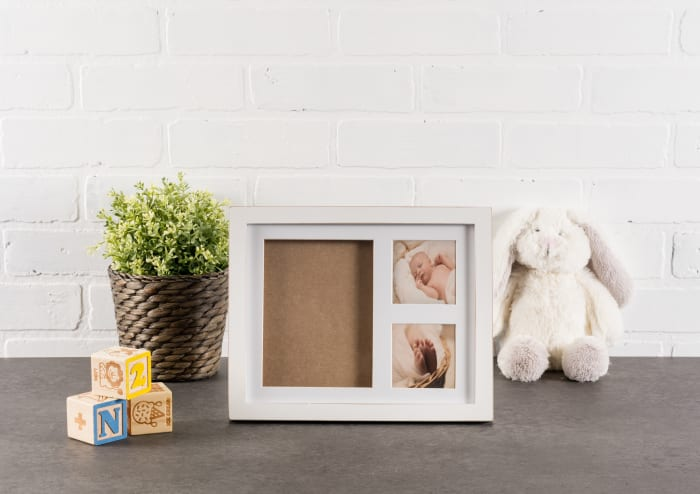 Baby Keepsake Frame Distressed White