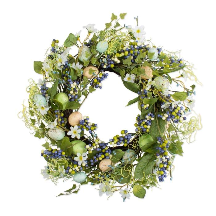 Blue Eggs & Flowers Wreath