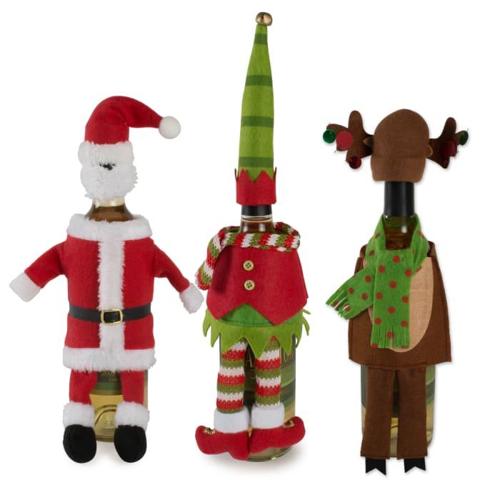 Santa, Reindeer, And Elf Wine Bottle Outfits (Set of 3)