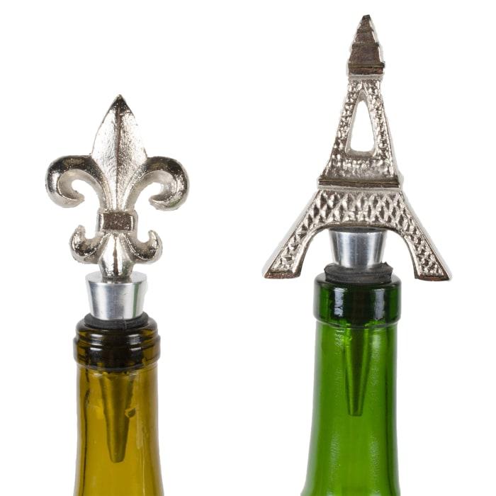 Silver Eiffel Tower & Fleur Del Lis Bottle Stopper (Set of 2)