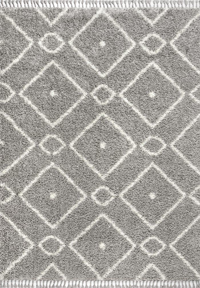 Shag Plush Tassel Moroccan Diamond Grey/Cream Area Rug
