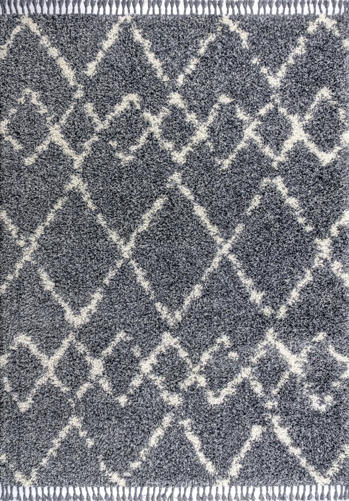 Mercer Shag Plush Tassel Moroccan Tribal Geometric Trellis Denim Blue/Cream 4 ft. x 6 ft. Area Rug