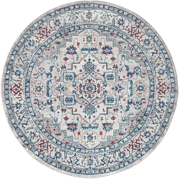 Modern Persian Vintage Medallion Light Grey/Blue 6'7