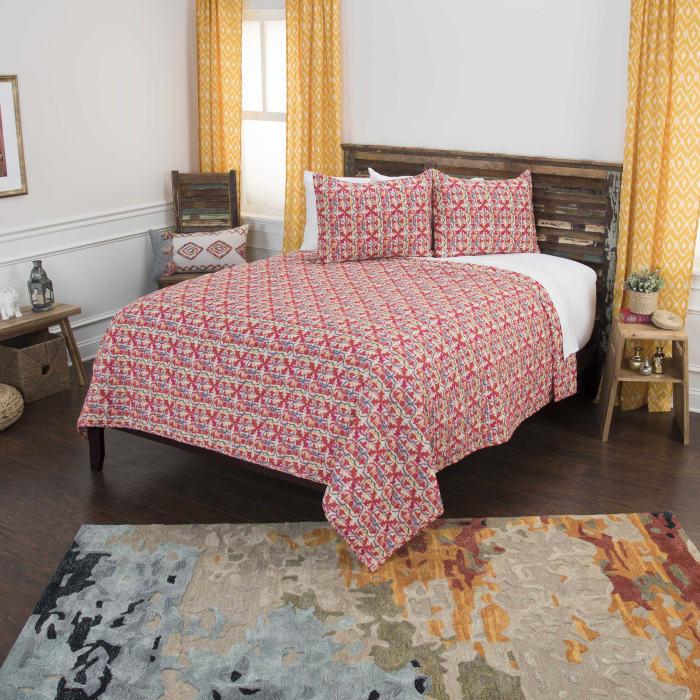 Red 100% Cotton Geometric 106
