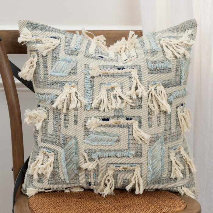 Abstract Fringed Accents Natural Filled Pillow