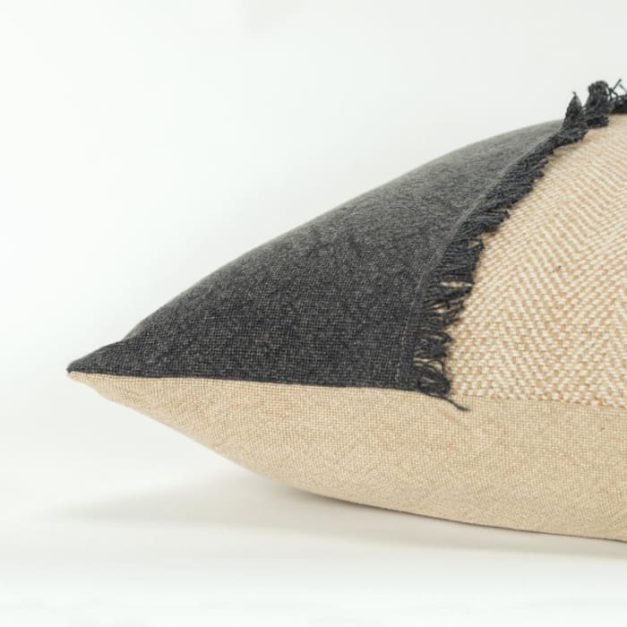 Burlap Color Block Charcoal and Tan Filled Pillow